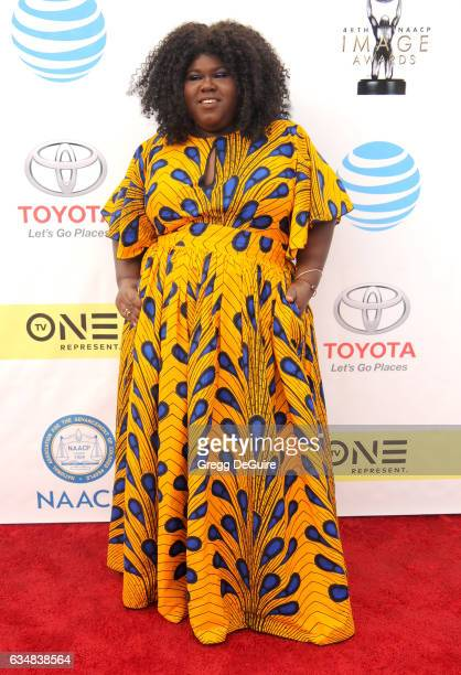 Actress Gabby Sidibe arrives at the 48th NAACP Image Awards at Pasadena Civic Auditorium on February 11 2017 in Pasadena California