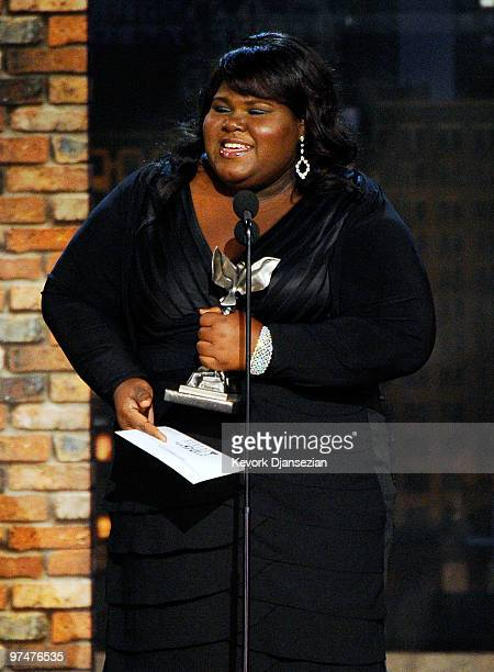 Actress Gabourey Sidibe accepts Best Female Lead for Precious onstage during the 25th Film Independent's Spirit Awards held at Nokia Event Deck at LA...