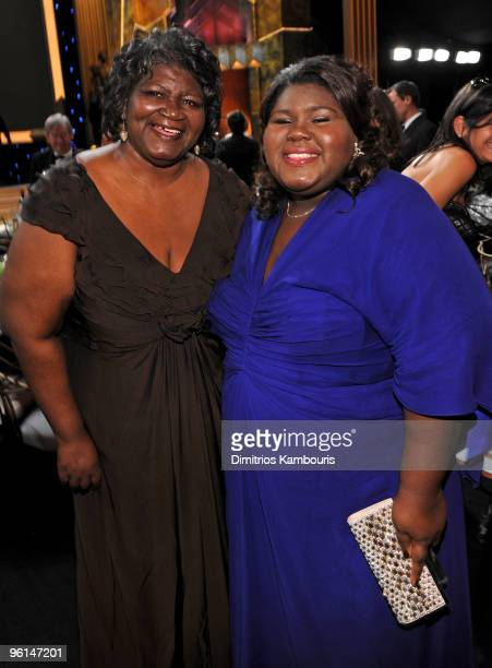 Actress Gabourey Sidibe and mother attend the TNT/TBS broadcast of the 16th Annual Screen Actors Guild Awards at the Shrine Auditorium on January 23...