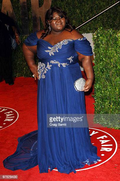 Actress Gabourey Sidibe arrives at the 2010 Vanity Fair Oscar Party hosted by Graydon Carter held at Sunset Tower on March 7 2010 in West Hollywood...