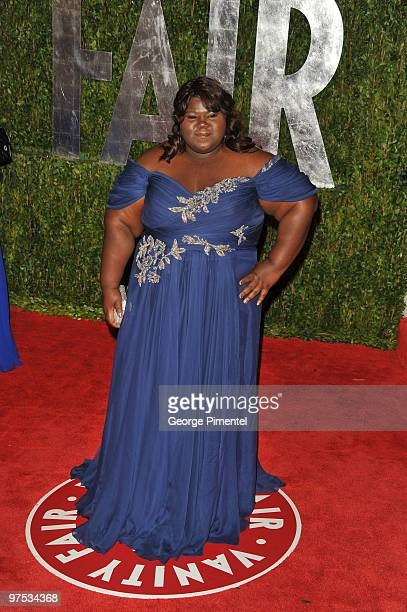 Actress Gabourey Sidibe arrives at the 2010 Vanity Fair Oscar Party hosted by Graydon Carter held at Sunset Tower on March 7, 2010 in West Hollywood,...