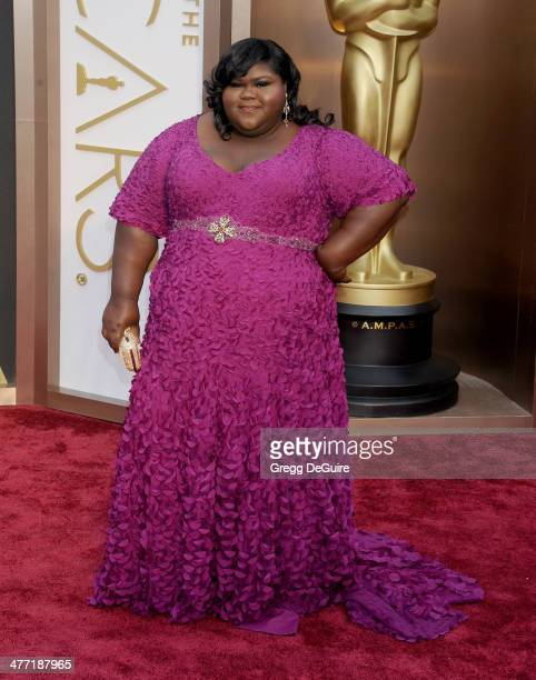 Actress Gabourey Sidibe arrives at the 86th Annual Academy Awards at Hollywood Highland Center on March 2 2014 in Hollywood California