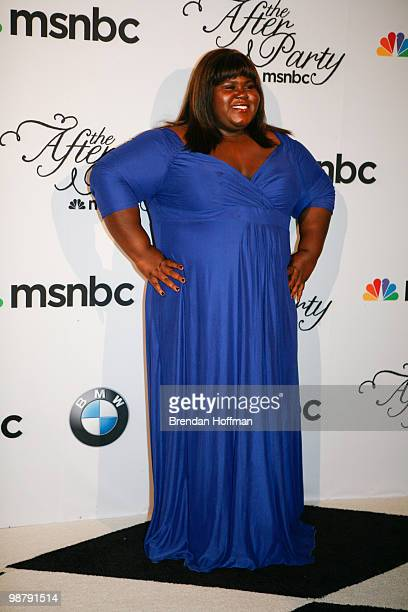 Actress Gabourey Sidibe arrives at the MSNBC Afterparty following the White House Correspondents' Association dinner on May 1 2010 in Washington DC...