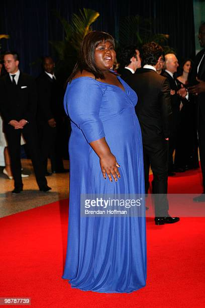 Actress Gabourey Sidibe arrives at the White House Correspondents' Association dinner on May 1 2010 in Washington DC The annual dinner featured...
