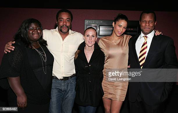 Actress Gabourey Sidibe director Lee Daniels producer Sarah SiegelMagness actress Paula Patton and writer Geoffrey Fletcher attend the Variety...
