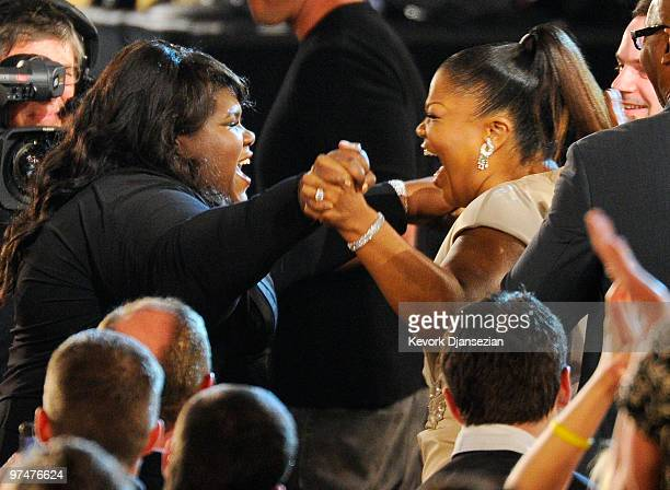 Actress Gabourey Sidibe winner Best Female Lead for Precious and actress Mo'Nique onstage during the 25th Film Independent's Spirit Awards held at...