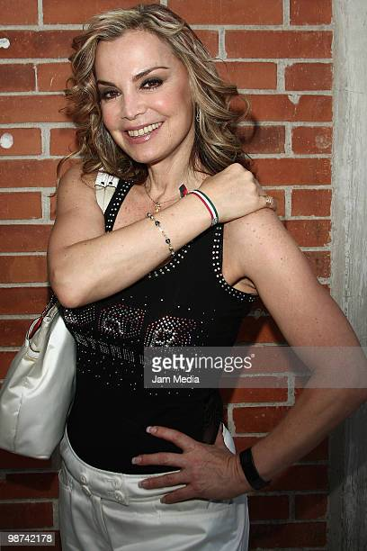 Actress Gabriela Goldsmith poses for a photo during the recording of the video Mexico In Our Hands at Estudio 5 de Mayo on April 28 2010 in Mexico...