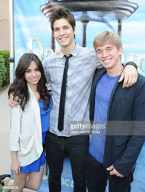 Actress Gabriela Rodriguez actor Casey Deidrick and actor Chandler Massey pose during the NBC Universal Summer Press Day Days Of Our Lives after...