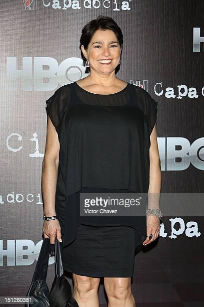 Actress Gabriela Roel arrives at the Capadocia season 3 launch red carpet at Museo Memoria y Tolerancia on September 4 2012 in Mexico City Mexico