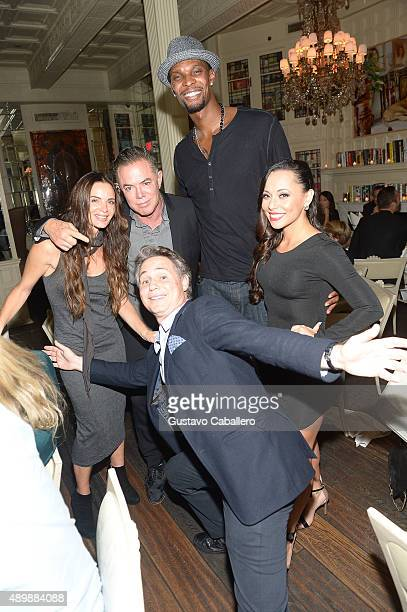 Actress Gabrielle Anwar The Forge's Shareef Malnik Founder of DuJour Media Jason Binn Chris Bosh and Adrienne Williams Bosh attend DuJour Magazine's...