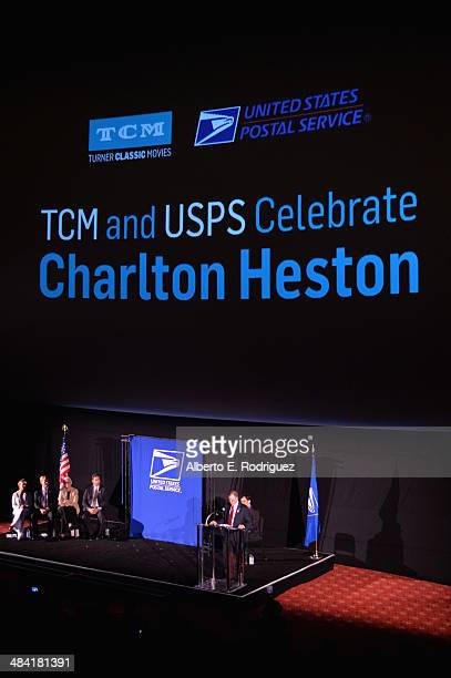 Actress Gabrielle Carteris actor Ned Vaughn CEO and Director Jean Picker Firstenberg director Fraser Heston Governor of the United States Postal...