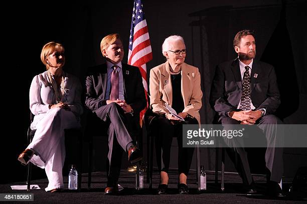 Actress Gabrielle Carteris actor Ned Vaughn CEO and Director of AFI Jean Picker Firstenberg and director Fraser Heston attend the postage stamp...