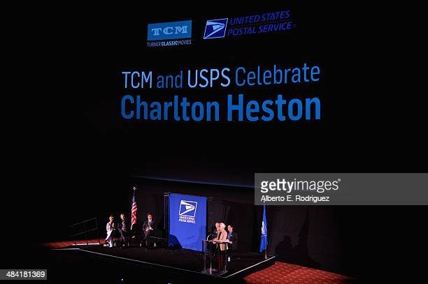 Actress Gabrielle Carteris actor Ned Vaughn director Fraser Heston Governor of the United States Postal Service Mickey D Barnett CEO and Director...