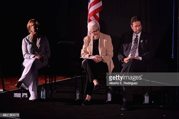 Actress Gabrielle Carteris CEO and Director of AFI Jean Picker Firstenberg and director Fraser Heston attend the postage stamp ceremony during the...