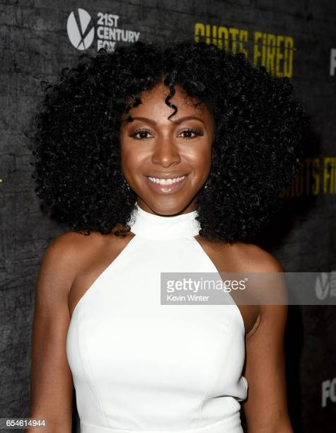 Actress Gabrielle Dennis arrives at a screening and QA for FOX TV's 'Shots Fired' at the Pacific Design Center on March 16 2017 in West Hollywood...