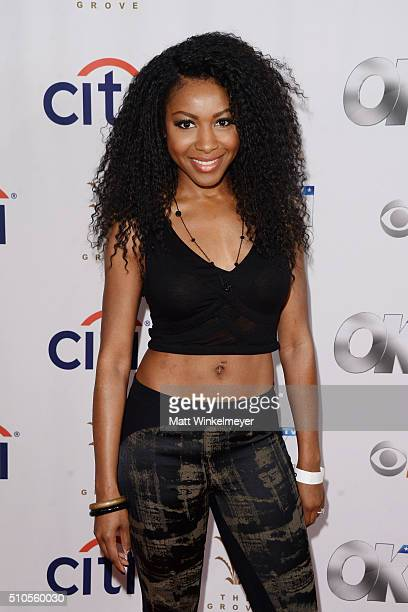 Actress Gabrielle Dennis arrives at the GRAMMY Viewing Party hosted by Citi and OK TV at The Grove on February 15 2016 in Los Angeles California