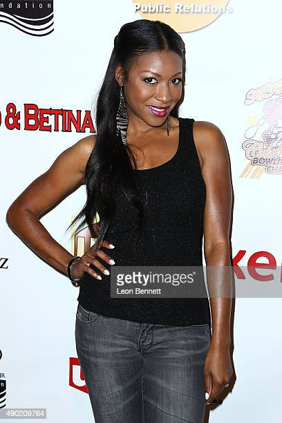 Actress Gabrielle Dennis arrives at The KIS Foundation's 12th Annual Celebrity Bowling Challenge at PINZ Entertainment Center on September 26 2015 in...