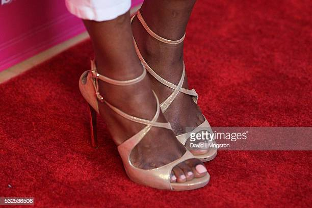 Actress Gabrielle Dennis shoe detail arrives at the OK Magazine's So Sexy LA at the Skybar at Mondrian on May 18 2016 in West Hollywood California