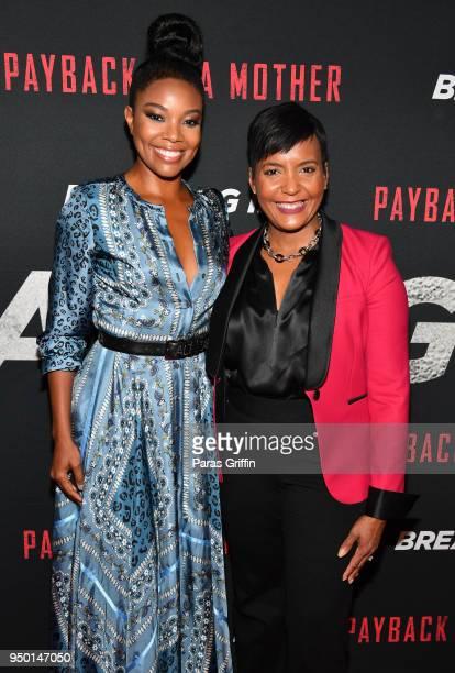 Actress Gabrielle Union and Atlanta mayor Keisha Lance Bottoms attend Breaking In Atlanta Private Screening at Regal Atlantic Station on April 22...