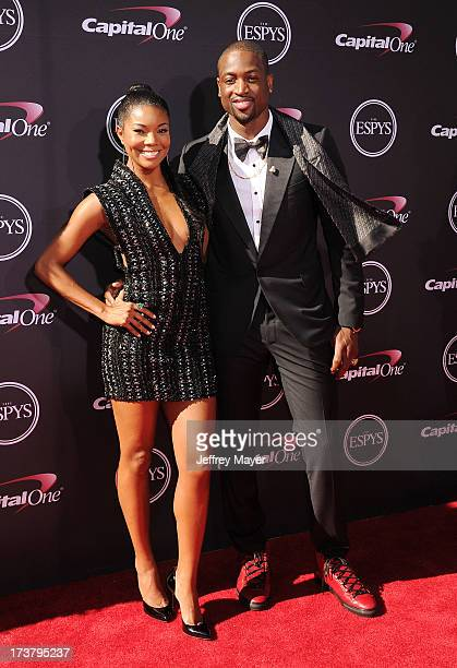 Actress Gabrielle Union and basketball player Dwyane Wade arrive at the 2013 ESPY Awards at Nokia Theatre LA Live on July 17 2013 in Los Angeles...
