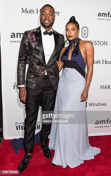 Actress Gabrielle Union and Professional Basketball Player Dwyane Wade attend 7th Annual amfAR Inspiration Gala New York at Skylight at Moynihan...