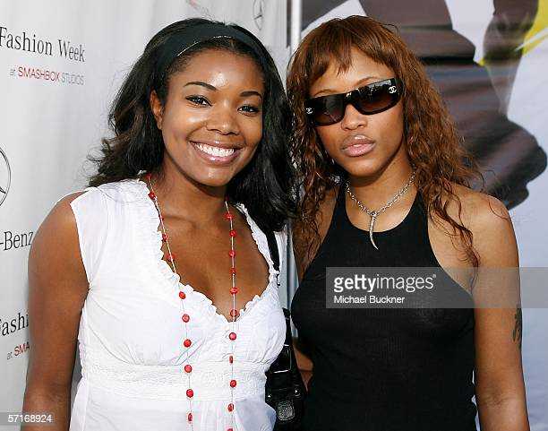 Actress Gabrielle Union and singer Eve attend MercedesBenz Fashion Week at Smashbox Studios on March 23 2006 in Culver City California