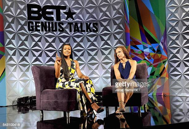 Actress Gabrielle Union and writer/professor Melissa HarrisPerry speak onstage during the Genius Talks sponsored by ATT during the 2016 BET...