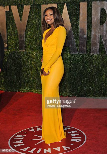 Actress Gabrielle Union arrives at the 2010 Vanity Fair Oscar Party hosted by Graydon Carter held at Sunset Tower on March 7 2010 in West Hollywood...