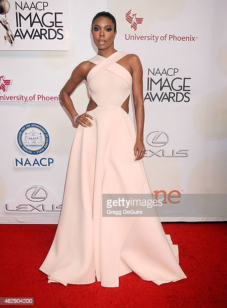 Actress Gabrielle Union arrives at the 46th Annual NAACP Image Awards at the Pasadena Civic Auditorium on February 6 2015 in Pasadena California