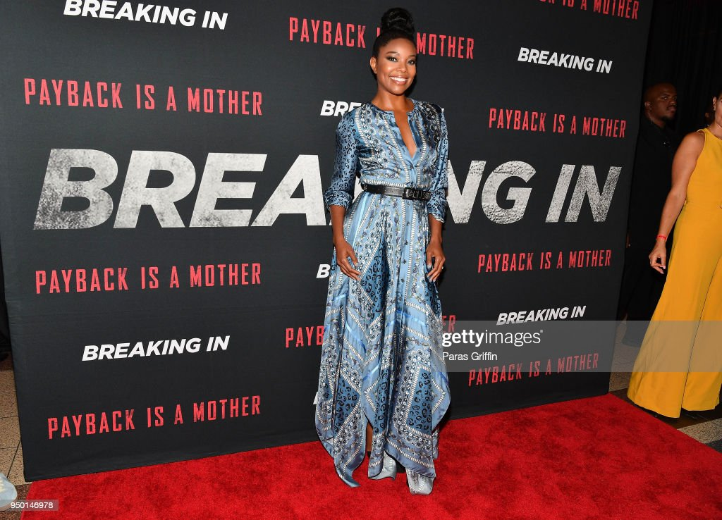 Actress Gabrielle Union attends 'Breaking In' Atlanta Private Screening at Regal Atlantic Station on April 22, 2018 in Atlanta, Georgia.