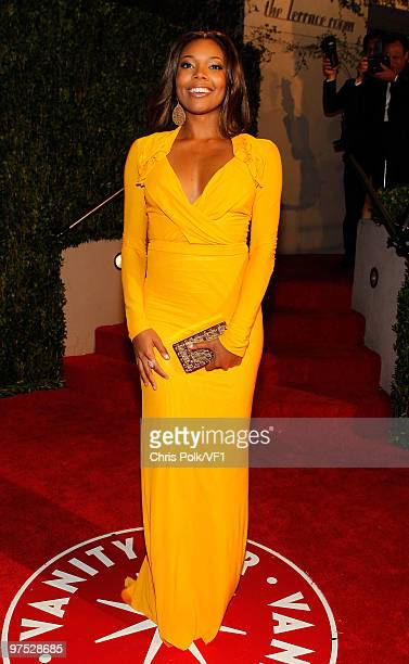 Actress Gabrielle Union attends the 2010 Vanity Fair Oscar Party hosted by Graydon Carter at the Sunset Tower Hotel on March 7 2010 in West Hollywood...