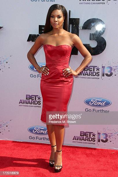Actress Gabrielle Union attends the 2013 BET Awards at Nokia Theatre LA Live on June 30 2013 in Los Angeles California