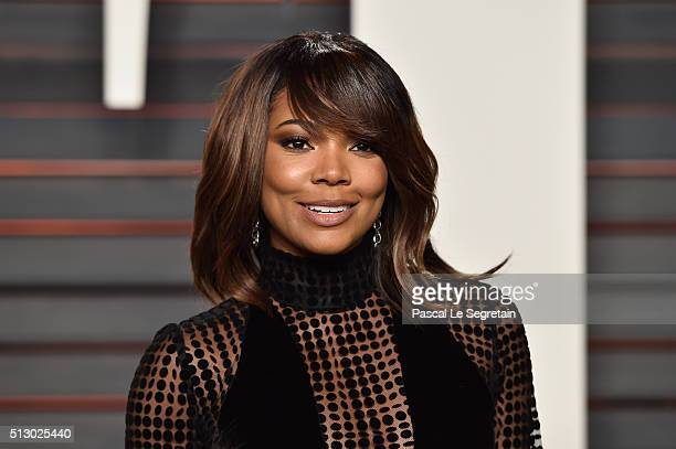 Actress Gabrielle Union attends the 2016 Vanity Fair Oscar Party Hosted By Graydon Carter at the Wallis Annenberg Center for the Performing Arts on...
