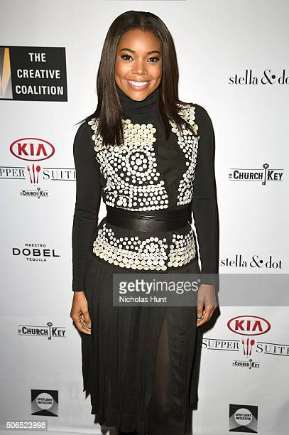 Actress Gabrielle Union attends the Creative Coalition Spotlight Initiative Awards Gala Dinner at Cisero's Bar on January 23 2016 in Park City Utah