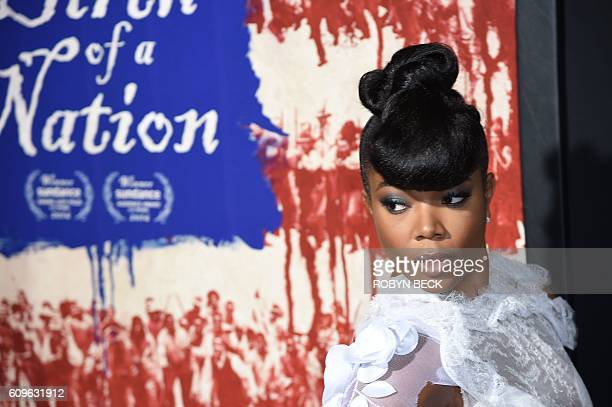 Actress Gabrielle Union attends the premiere of his film The Birth of a Nation September 21 2016 at ArcLight Cinemas in Hollywood California / AFP /...