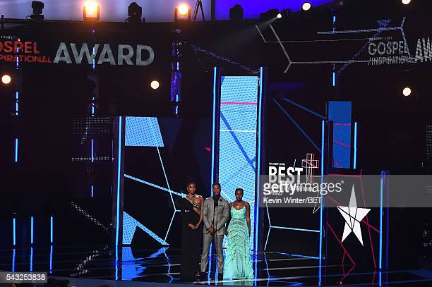 Actress Gabrielle Union director/actor Nate Parker and actress Aja Naomi King speak onstage during the 2016 BET Awards at the Microsoft Theater on...