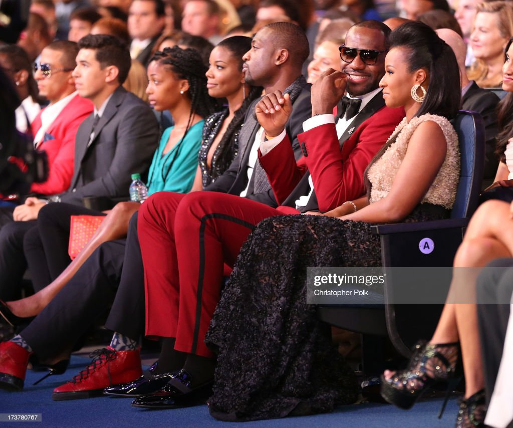 Actress Gabrielle Union, NBA player Dwyane Wade, NBA player LeBron James, and Savannah Brinson attend The 2013 ESPY Awards at Nokia Theatre L.A. Live on July 17, 2013 in Los Angeles, California.