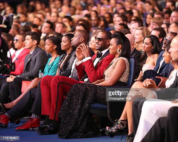 Actress Gabrielle Union NBA player Dwyane Wade NBA player LeBron James and Savannah Brinson attend The 2013 ESPY Awards at Nokia Theatre LA Live on...