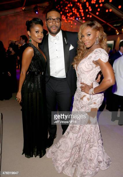 Actress Gabrielle Union producer/director Tyler Perry and tennis player Serena Williams attend the 2014 Vanity Fair Oscar Party Hosted By Graydon...