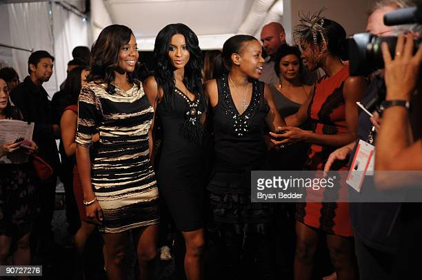 Actress Gabrielle Union singer Ciara designer Tracy Reese and singer Kelly Rowland attend Tracy Reese Spring 2010 fashion show at the Salon at Bryant...
