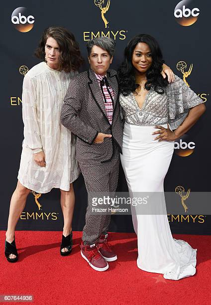 Actress Gaby Hoffmann writer/director Jill Soloway and actress Alexandra Grey attend the 68th Annual Primetime Emmy Awards at Microsoft Theater on...