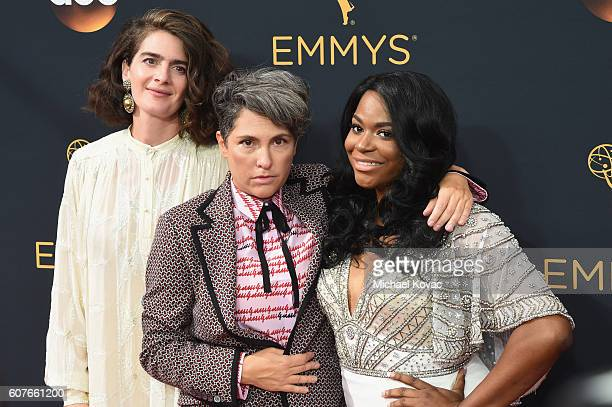 Actress Gaby Hoffmann writer/director Jill Soloway and actress Alexandra Grey attend 68th Annual Primetime Emmy Awards at Microsoft Theater on...