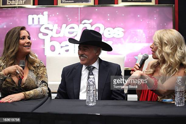 Actress Gaby Rivero actor Andres Garcia and actress Lorena Herrera attend the 'Mi Sueno Es Bailar' season 4 press conference on March 13 2013 in...