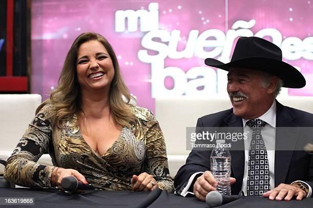 Actress Gaby Rivero and actor Andres Garcia attend the 'Mi Sueno Es Bailar' season 4 press conference on March 13 2013 in Burbank California