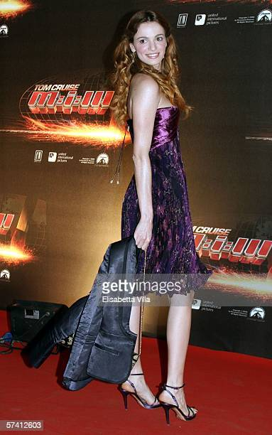 Actress Gaia Bermani Amaral arrives at the World Premiere of Mission Impossible III at Cinema Adriano on April 24 2006 in Rome Italy