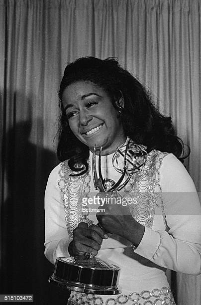Actress Gail Fisher holding the Best Supporting Actress in a series Emmy she won for the series Mannix