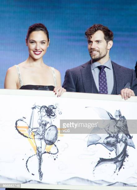 Actress Gal Gadot and actor Henry Cavill attend 'Justice League' premiere at 798 Art Zone on October 26 2017 in Beijing China