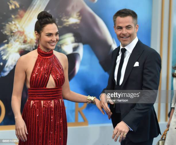 Actress Gal Gadot and Chris Pine arrive at the Premiere Of Warner Bros Pictures' Wonder Woman at the Pantages Theatre on May 25 2017 in Hollywood...