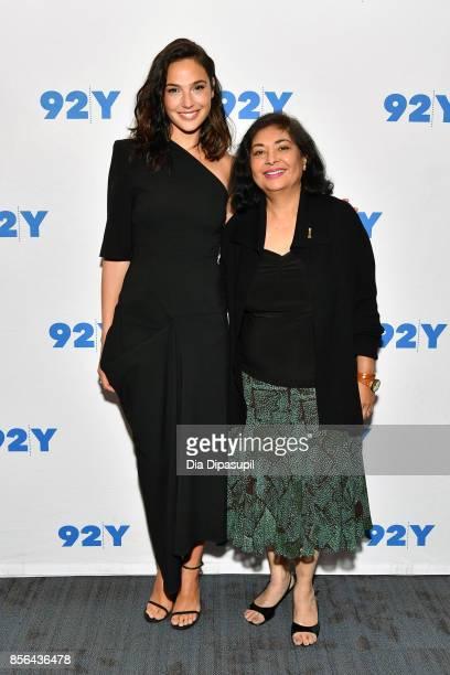 Actress Gal Gadot and Hollywood Foreign Press Association president Meher Tatna attend Gal Gadot and Meher Tatna in Conversation with Carla Sosenko...