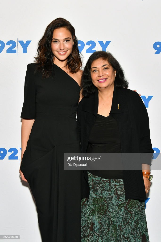 Actress Gal Gadot (L) and Hollywood Foreign Press Association president Meher Tatna attend Gal Gadot and Meher Tatna in Conversation with Carla Sosenko at 92nd Street Y on October 1, 2017 in New York City.